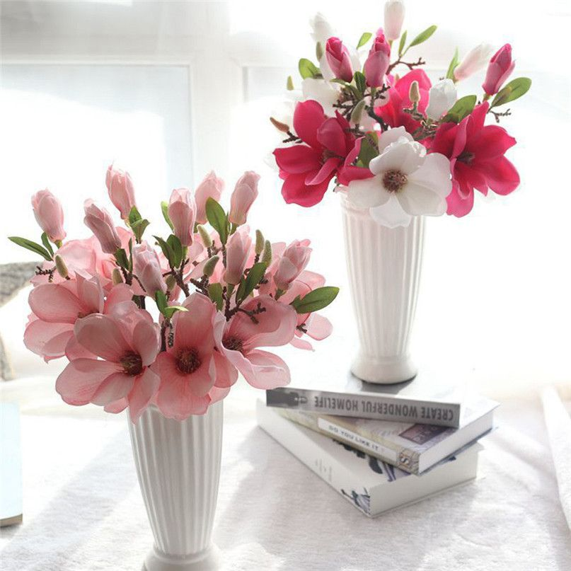 Home Wider Hot Selling Artificial Fake Flowers Leaf Magnolia Floral