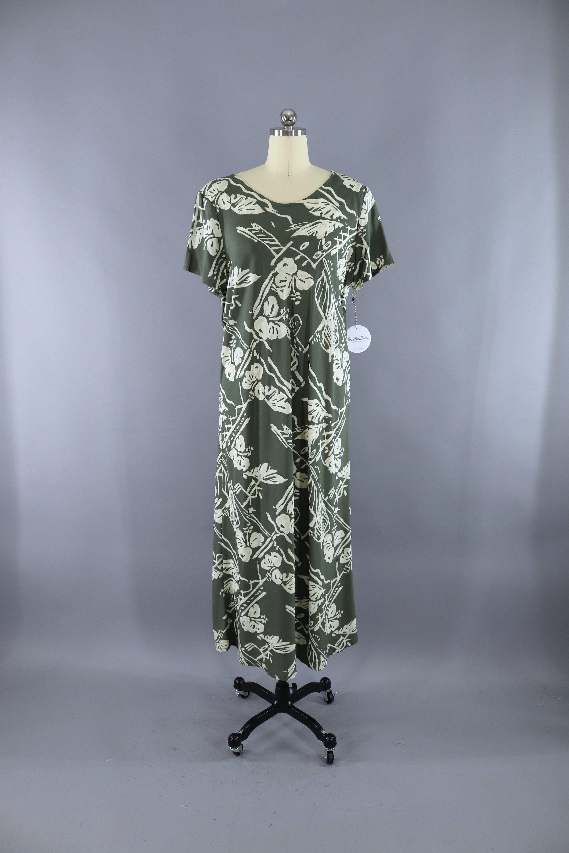 Vintage hilo hatti olive army green floral hawaiian print maxi dress