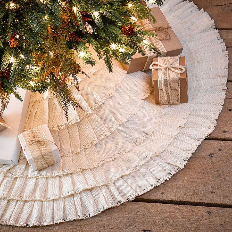 Everything Primitives Crème Burlap Natural Ruffled 48 Christmas Tree Skirt 39 95 Http