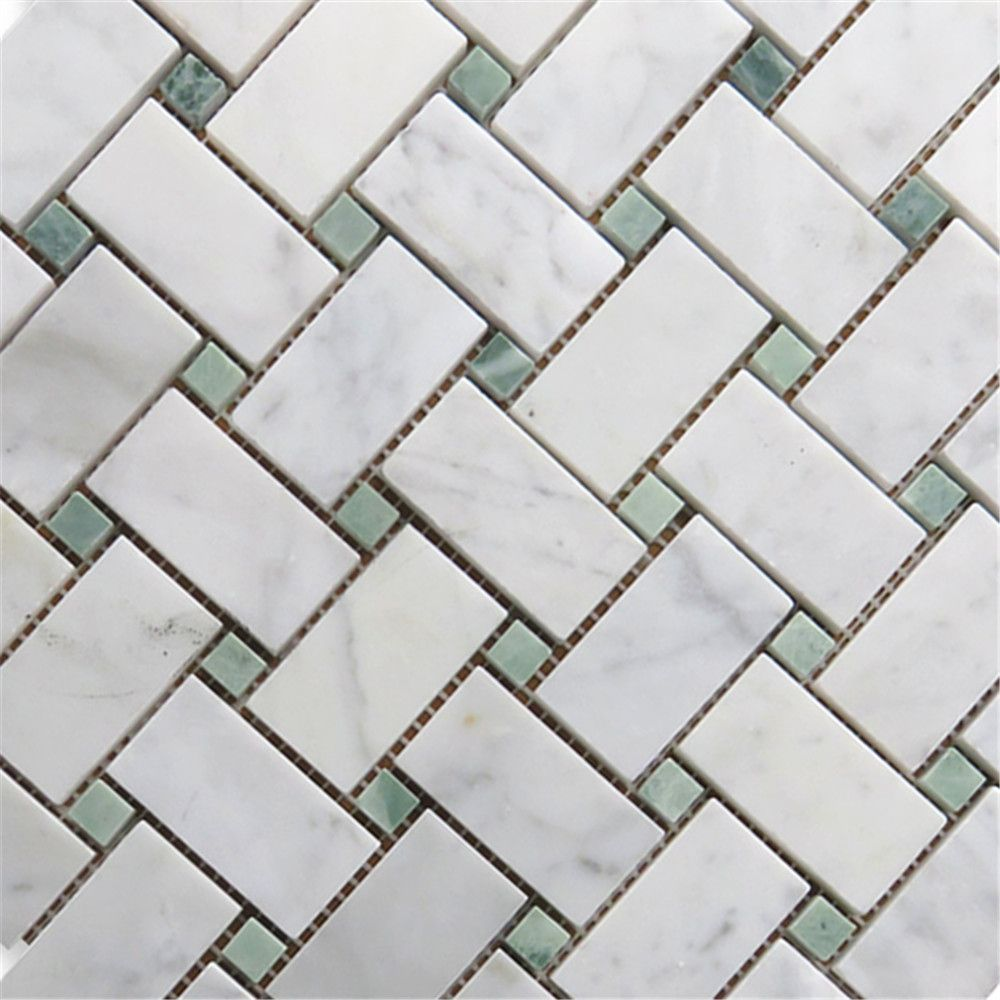 Carrara White 1x2 Basketweave Mosaic Tile W Green Dots Honed Marble From Italy Basket Weave Tile Mosaic Tiles Marble Mosaic Tiles