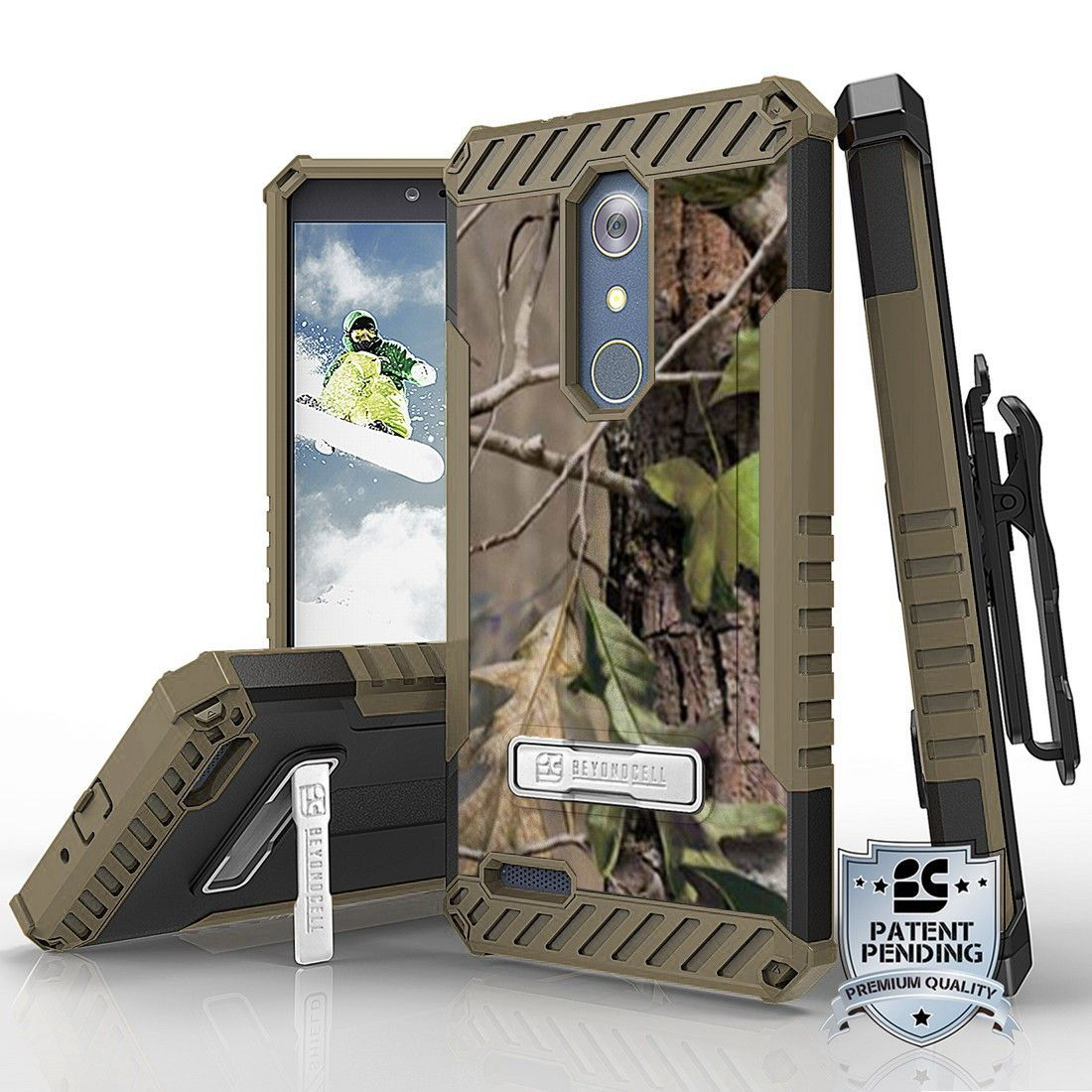 Tri Shield For ZTE Z Max Pro / ZTE Carry Z981 Hunter Tree Camo, Belt Clip Holster