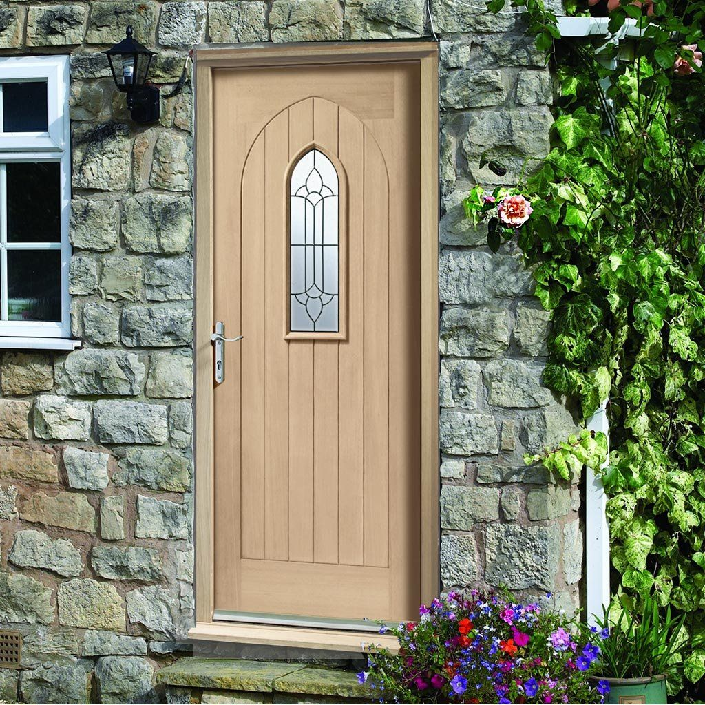 Westminster Exterior Oak Door And Frame Set With Black Caming Double Glazing,  Traditional Styling And
