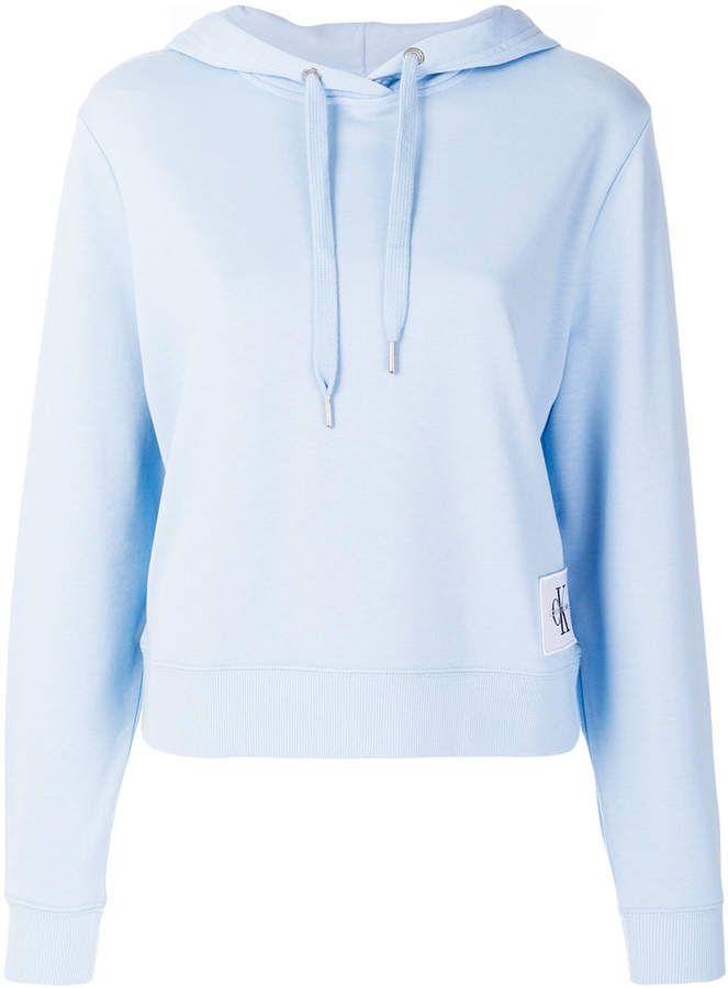 24e0ec0165991 Light blue cotton blend patch logo  hoodie from  Calvin  Klein  Jeans!