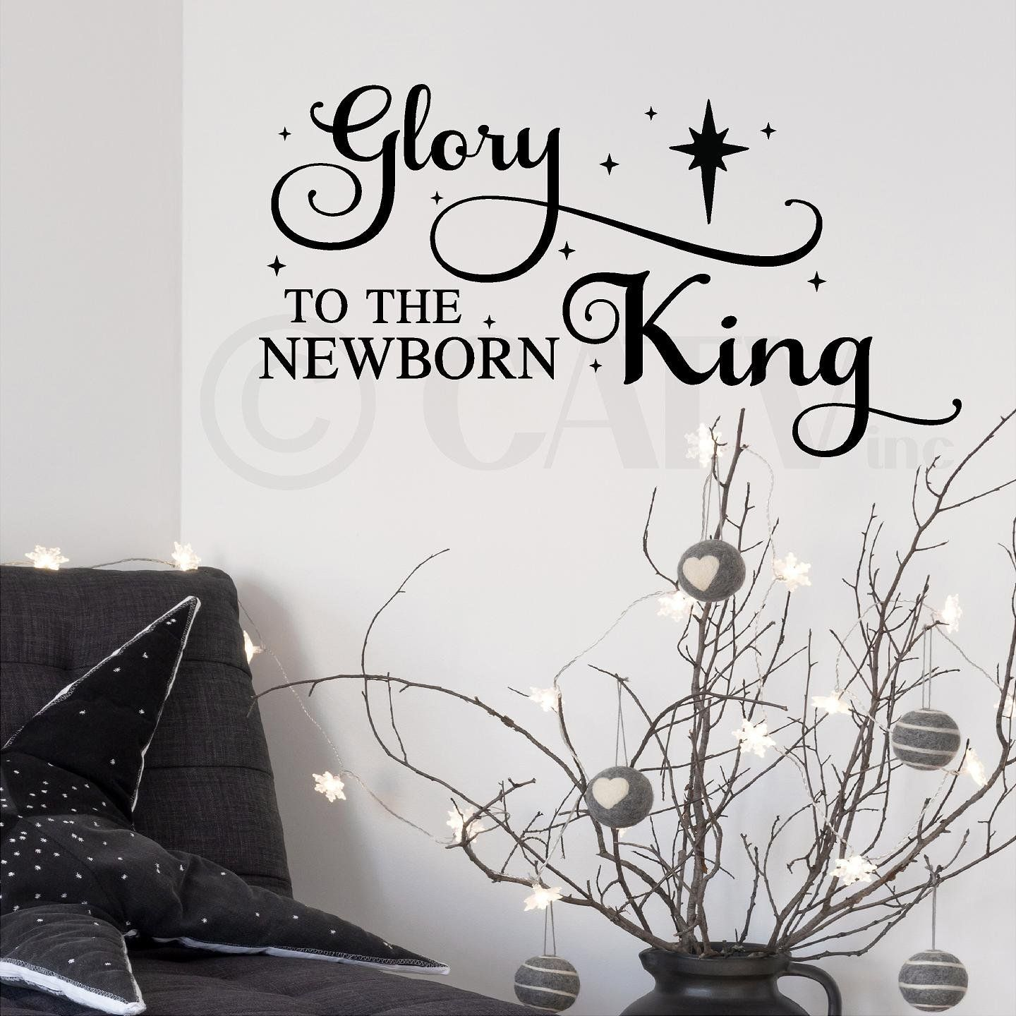 Glory to the newborn king christmas vinyl lettering wall decal king christmas vinyl lettering wall decal sticker christ quote holiday decor with nativity star black see this awesome image home diy wall solutioingenieria Images