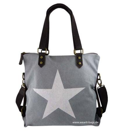 Wearit Bags - Ital. Damen Schultertasche shopper in Canvas und Leder ...