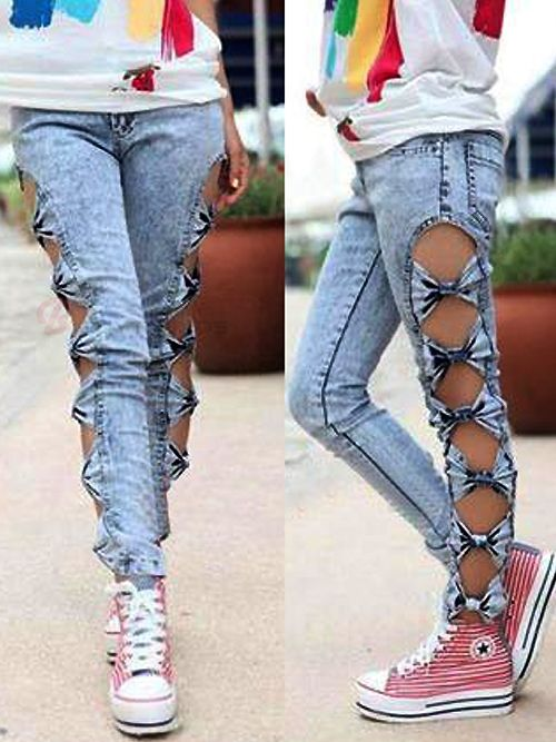 Attractive Side Hollow BowKnot Skinny Jeans  - I think we could modify these to the knee