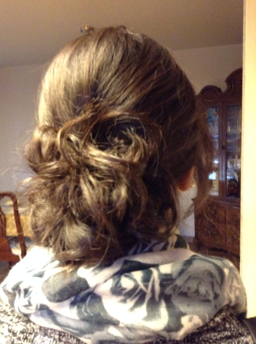 Simple Updo Curl your hair Put it in a low ponytail  And just twist your hair and pin with bobby pins