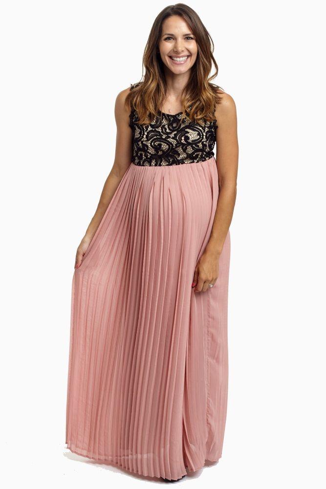 e2adcedfd200 Pale Pink Pleated Chiffon Lace Top Maternity Maxi Dress | PinkBlush ...