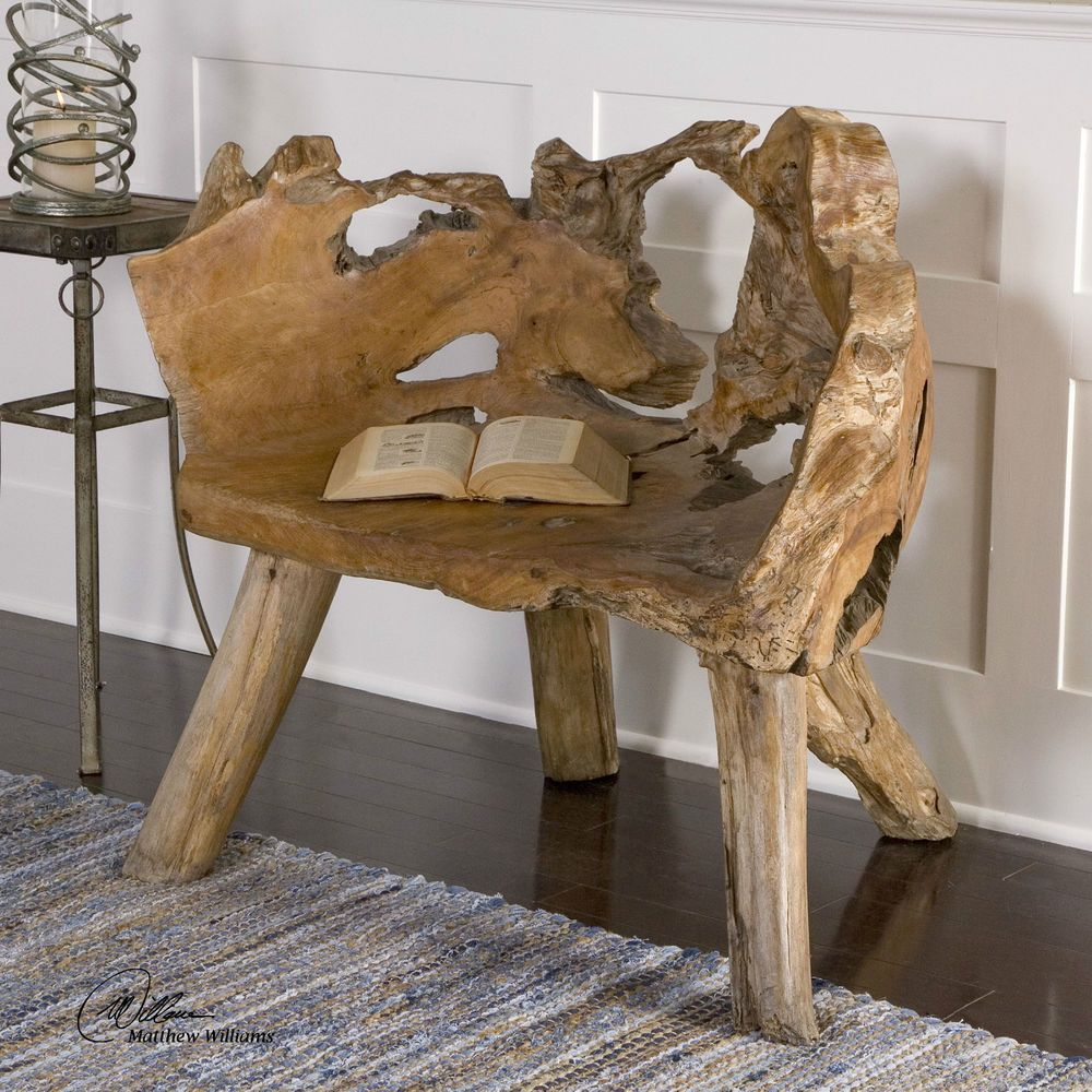 Go green with our new reclaimed teak western decor furniture available - Hand Carved Teak Wood Chair Rustic Tuscan Lodge Cabin Decor Home Garden Furniture