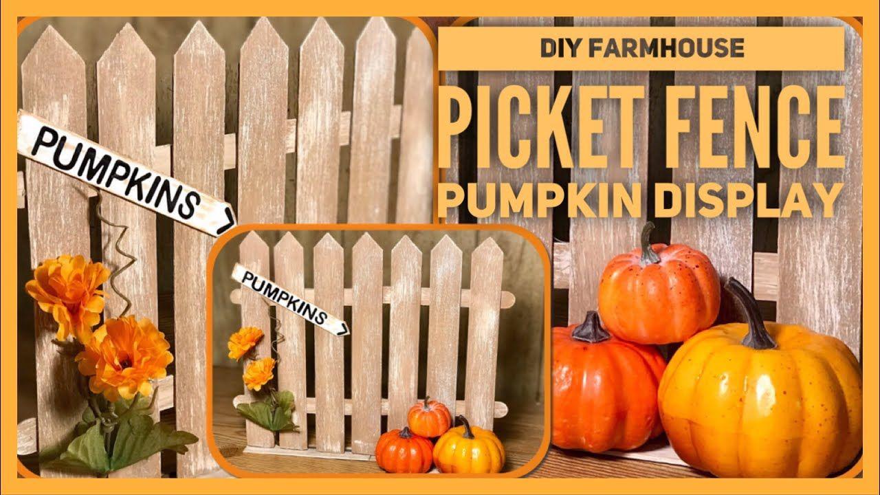 DIY Fall Pumpkin Farmhouse Picket Fence Display Dollar