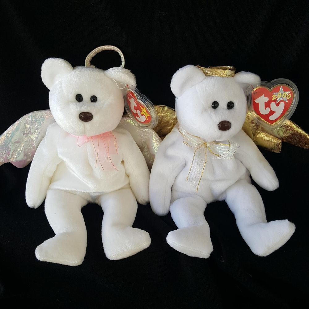Details about Ty Beanie Baby Halo Angel White Iridescent