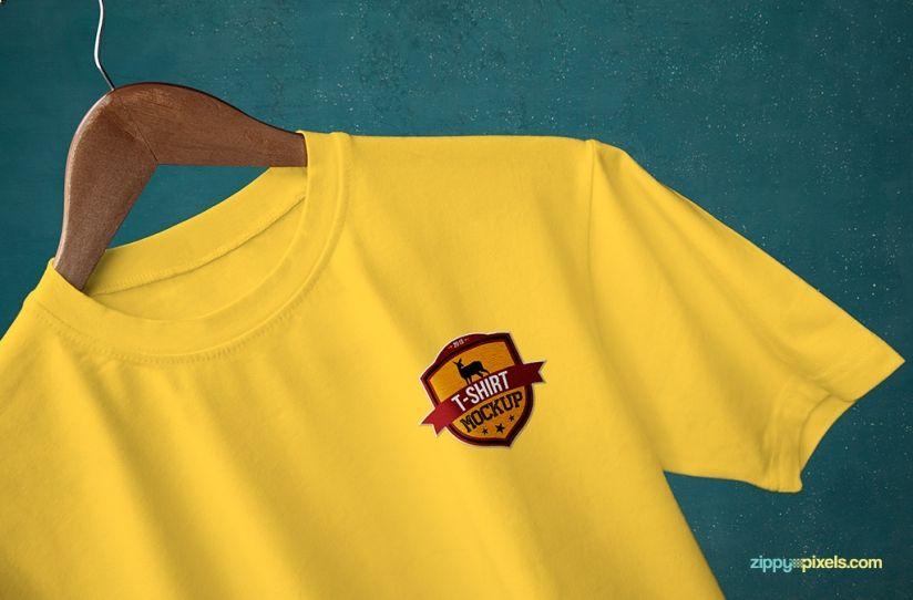 Download Round Neck T Shirt Closeup Mockup Mockupworld T Shirt Logo Design Shirt Logo Design Shirt Mockup