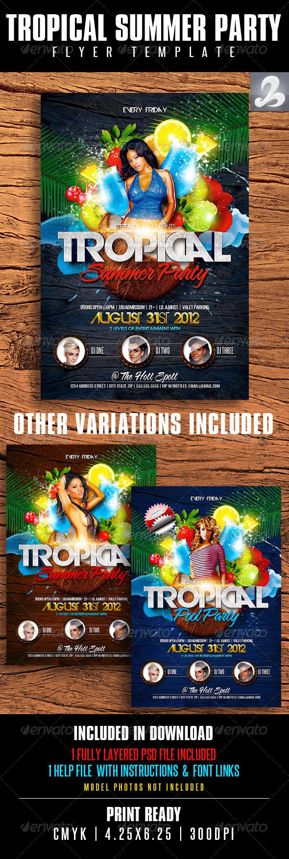Tropical Summer Party Flyer Template  Party Flyer Flyer Template