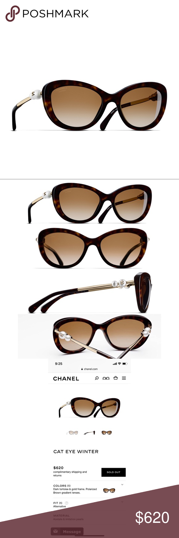 d2b48343dd Chanel cat eye winter sunglasses Brand new Chanel sunglasses. Selling  because I didn t
