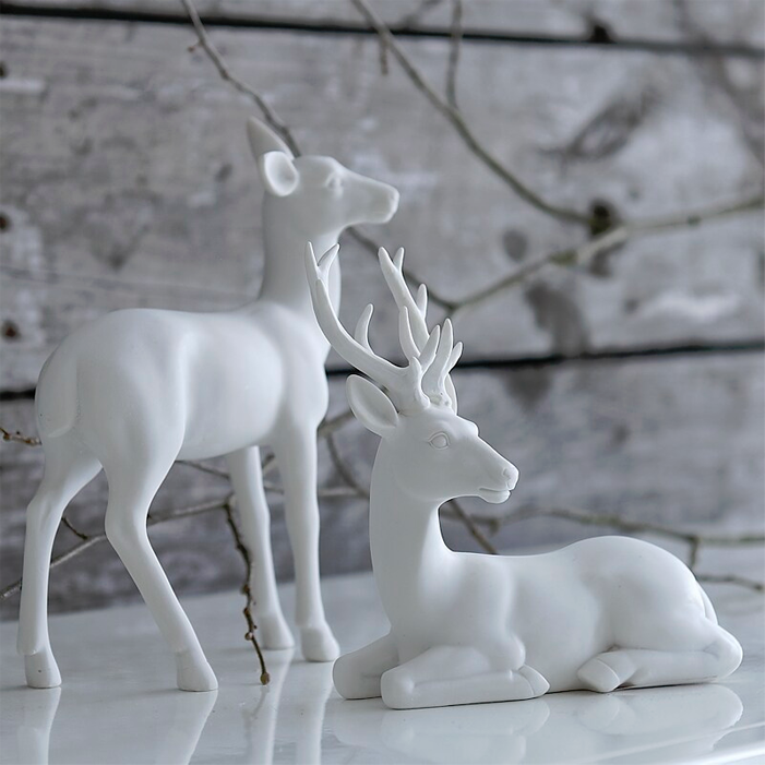 I Would Love These On My Dining Room Table For Christmas Snowy Deer Christmas Deer Decorations White Christmas White Christmas Decor