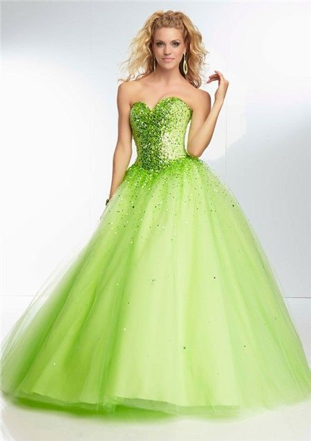 2f354b5b1d7 Ball Gown Strapless Sweetheart Corset Back Lime Green Tulle Beaded Prom  Dress
