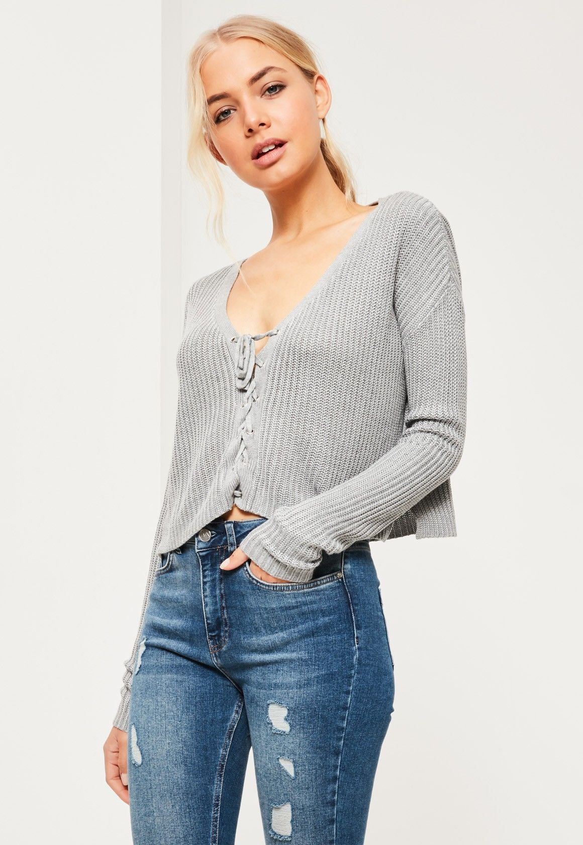 16578fba56 Missguided - Grey Slouchy Knitted Cropped Lace Up Jumper