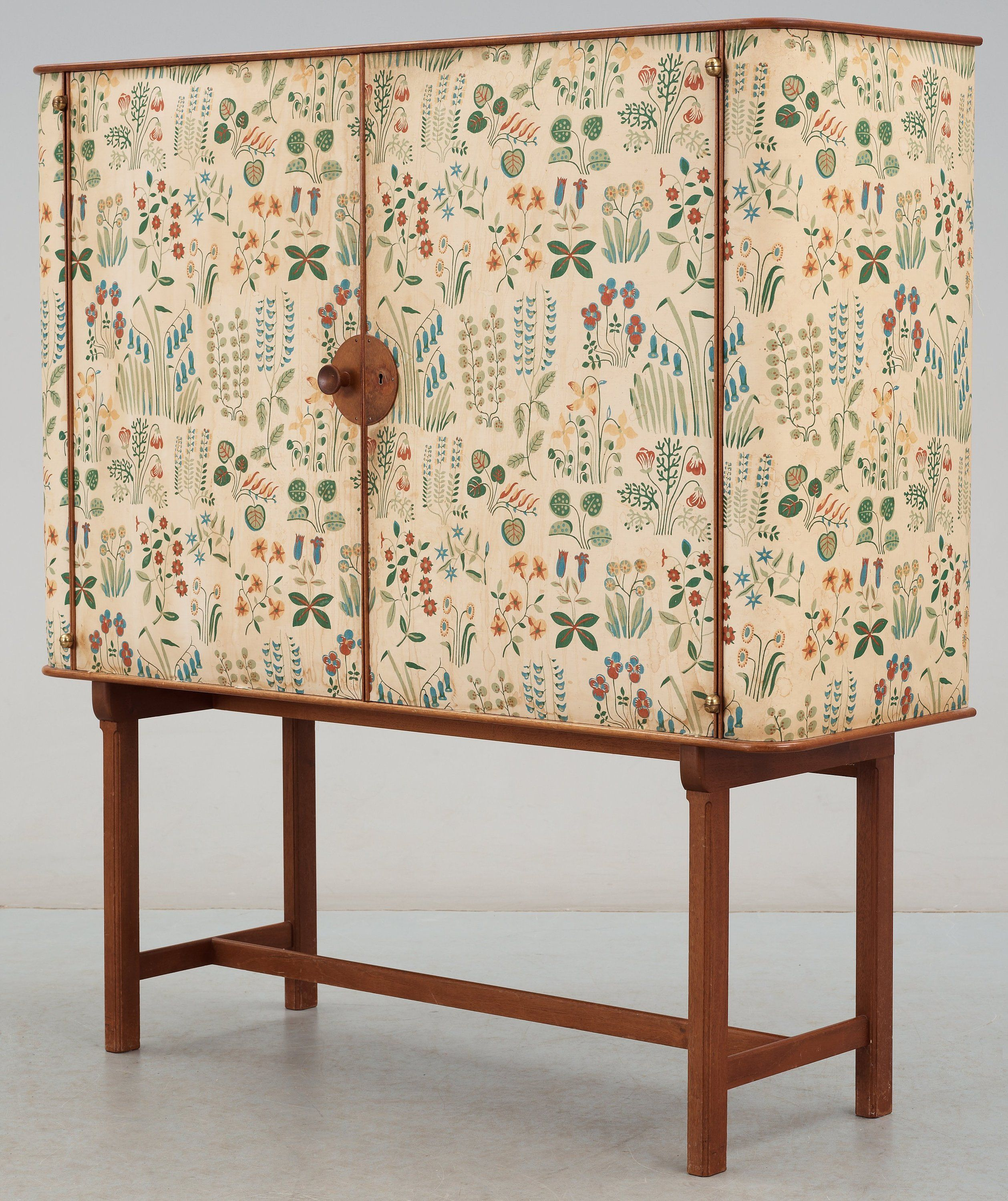 Josef Frank mahogany cabinet covered in Franks floral chintz