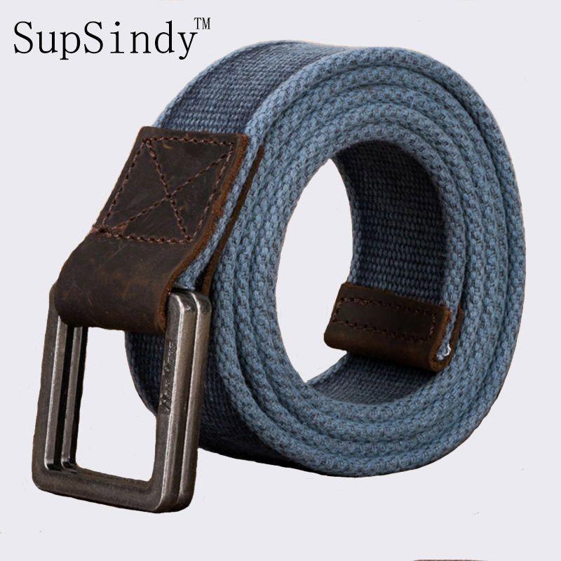 SupSindy hommes toile ceinture Alliage boucle Double anneau de coton  militaire Arm eacute e ceinture tactique ceintures pour Hommes top  qualit eacute  ... 9581112abf8