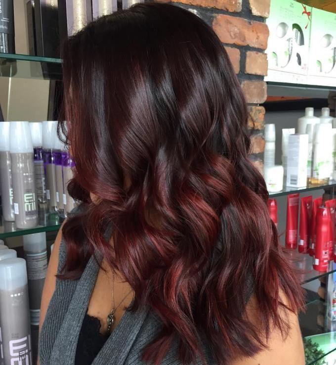 Black Hair With Burgundy And Maroon Balayage Uusi Tukka Ideoita