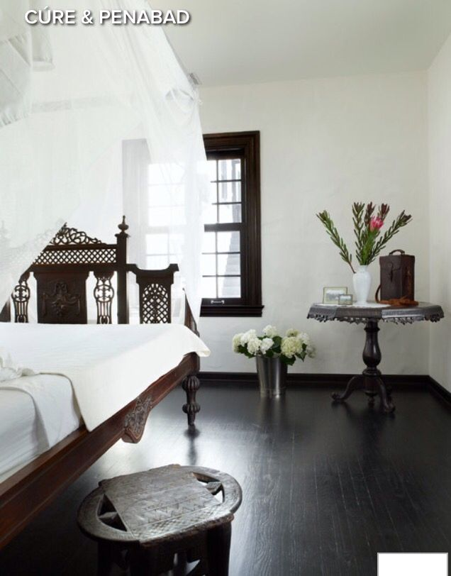 White and dark brown bedroom picture from