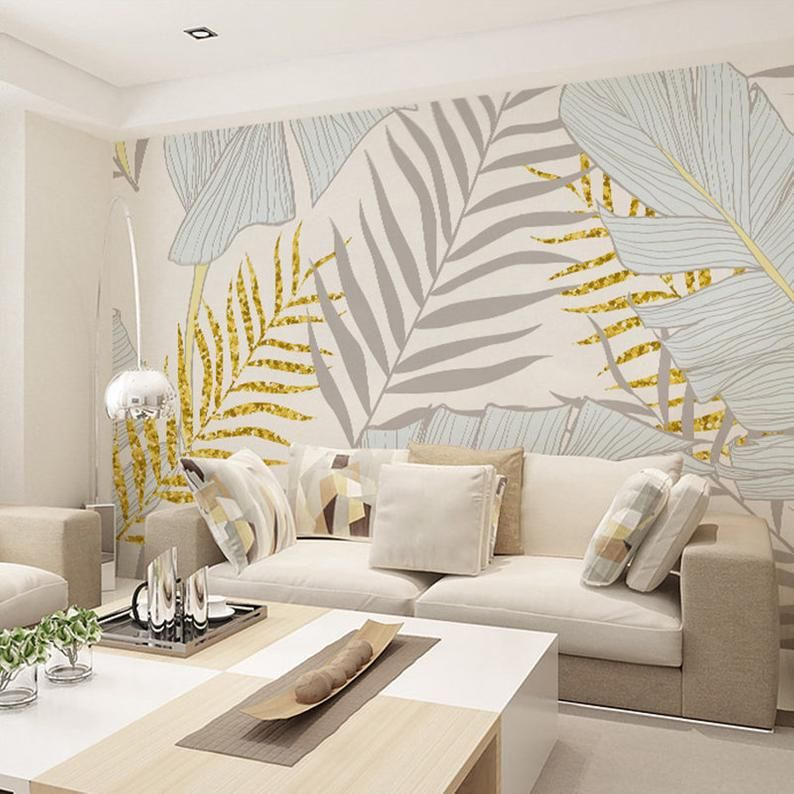 Living Room Accent Wall Tropical Palm Art: Rainforest Tropical Grey Ice Blue Leaves Wallpaper Wall