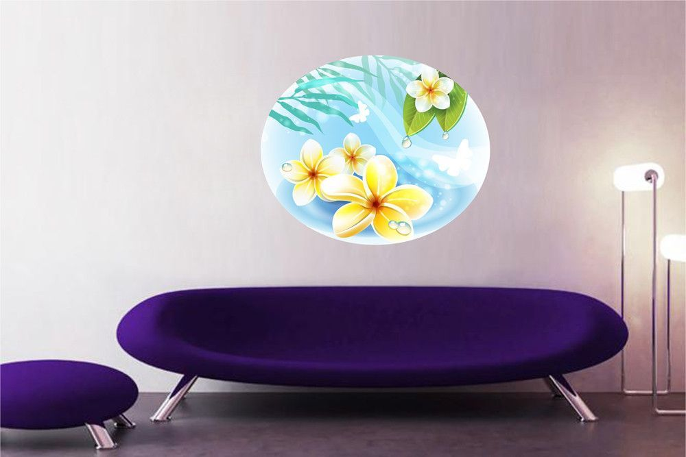 Cik1305 Full Color Wall Decal Beautiful Flowers Spa Beauty Salon Wall Colors Wall Decals Wall Decor Stickers