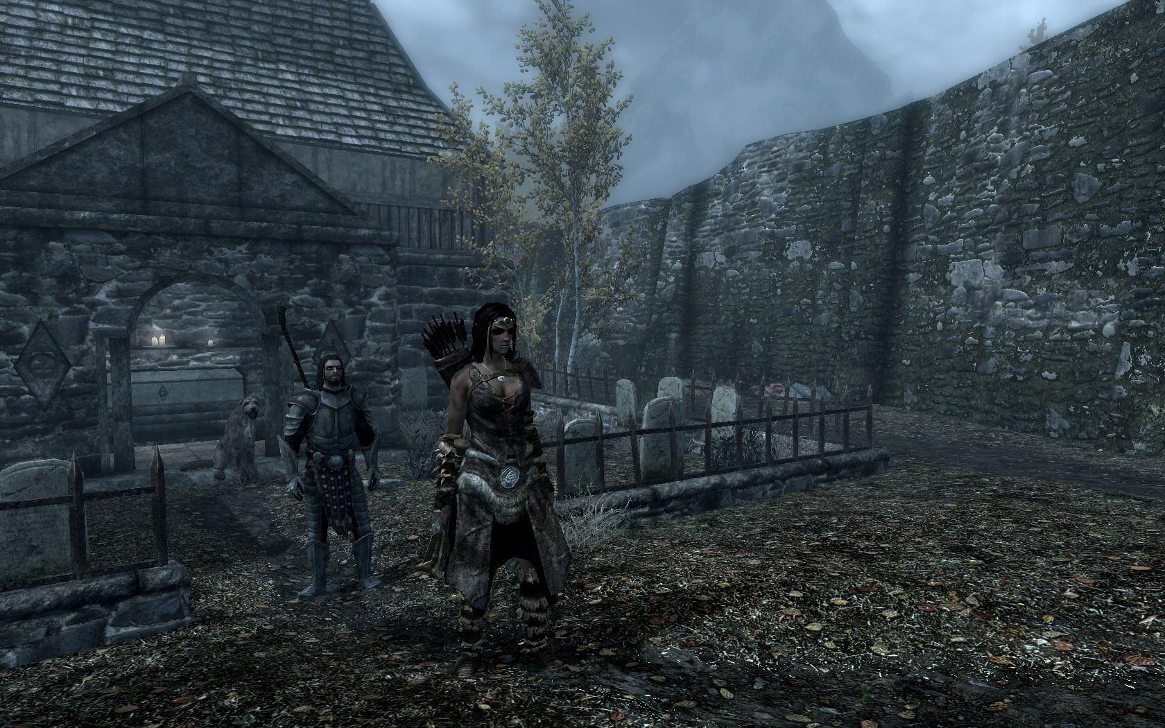 """Screenshot von meiner Kämpferin Marea und ihrem Ehemann aus """"The Elder Scrolls V: Skyrim"""" von Bethesda Game Studios"""