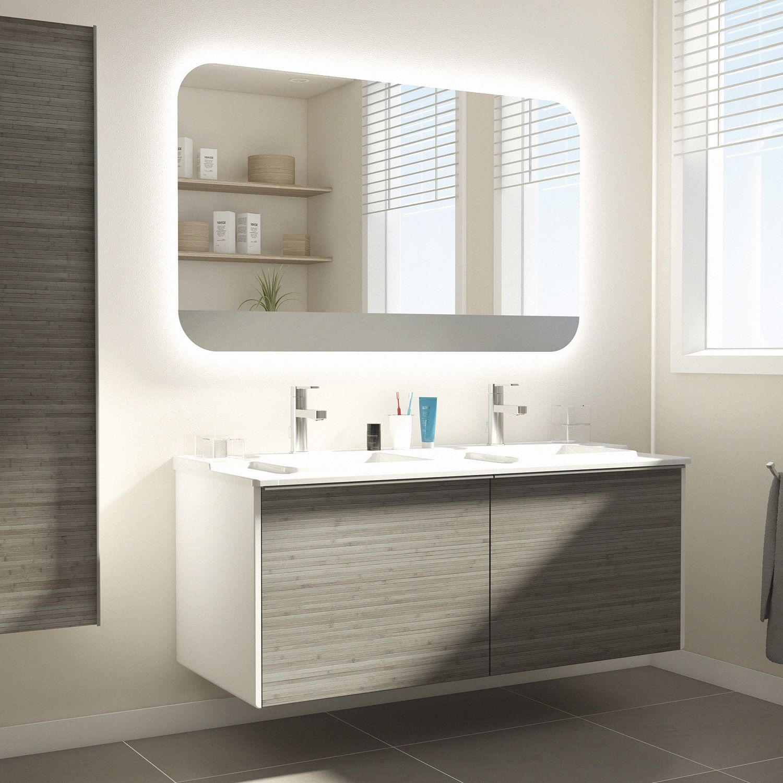 Meuble De Salle De Bains Idealsmart Imitation Bambou Bathroom Style Bathroom Lighting Bathroom