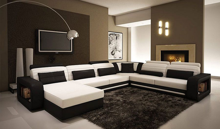 Chic U Shaped Sectional Sofas You Must Have : Contemporary Black And White  Leather Sectional UShaped Sofa Design Inspiration With Side Stora.