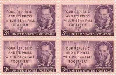 Joseph Pulitzer Set of 4 x 3 Cent US Postage Stamps NEW Scot 946 . $4.95. Joseph Pulitzer Set of 4 x 3 Cent US Postage Stamps NEW Scot 946