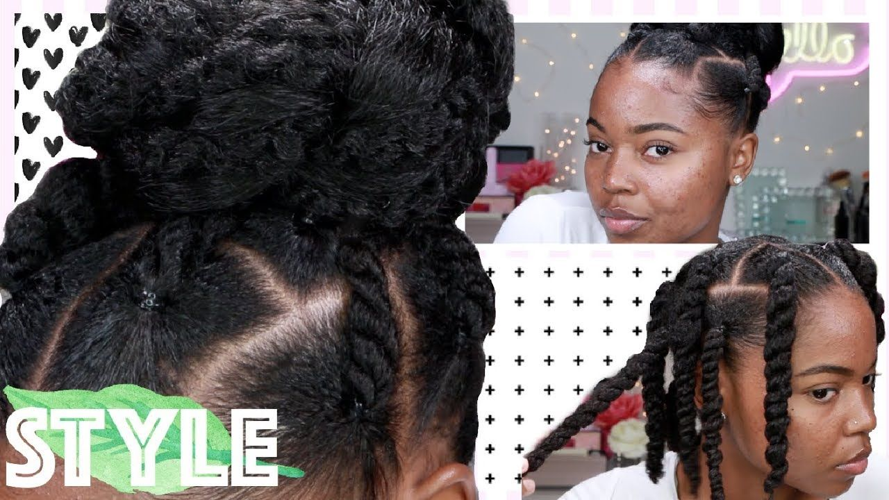 Simple Wash Day Style For Natural Hair Twisted Top Knot Bun On