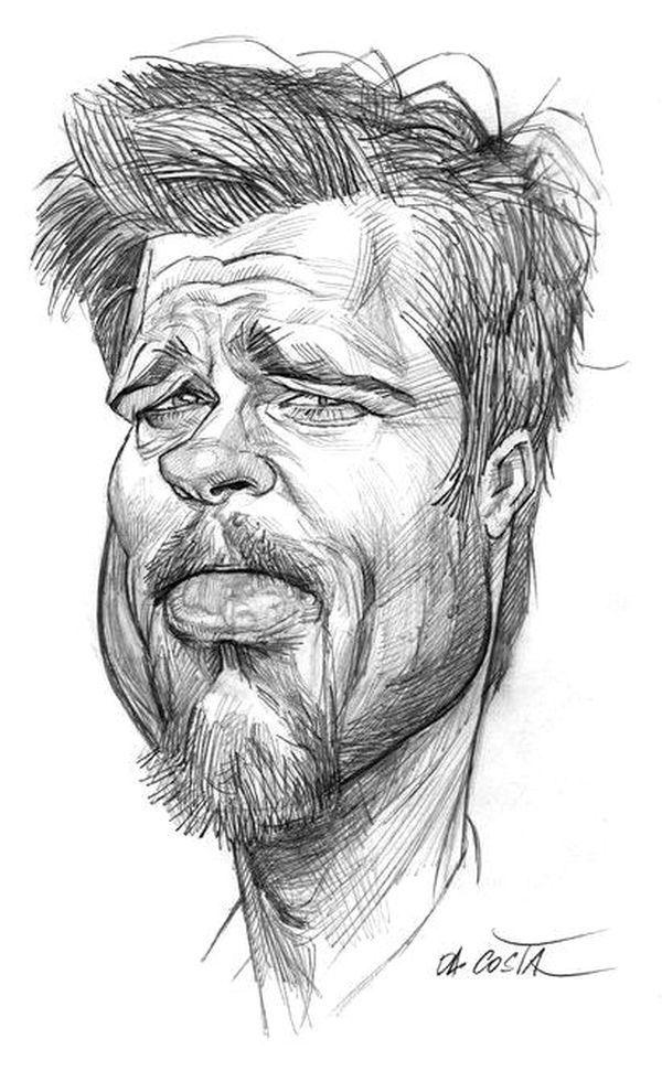 Brad Pitt 6 Caricature Sketch Caricature Drawing Cartoon Drawings