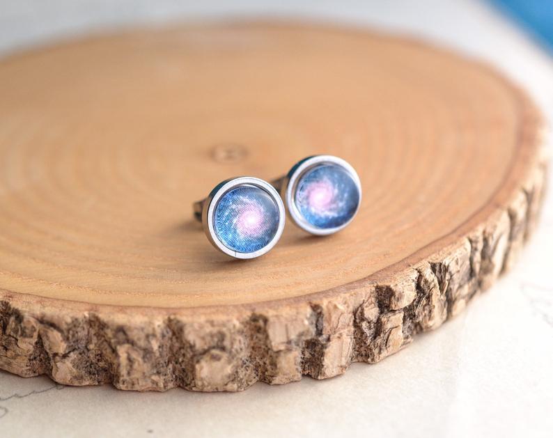 Photo of Cosmic Dainty Earrings, Galaxy Jewelry, Celestial Minimalist Studs