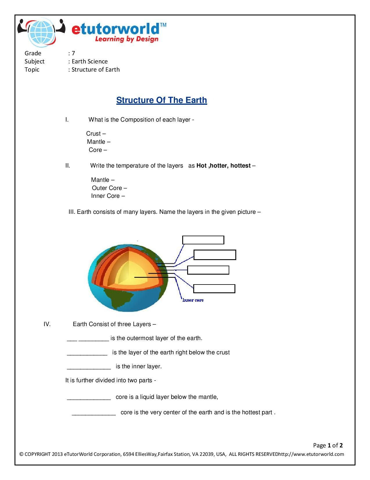 Science Worksheets For Grade 7