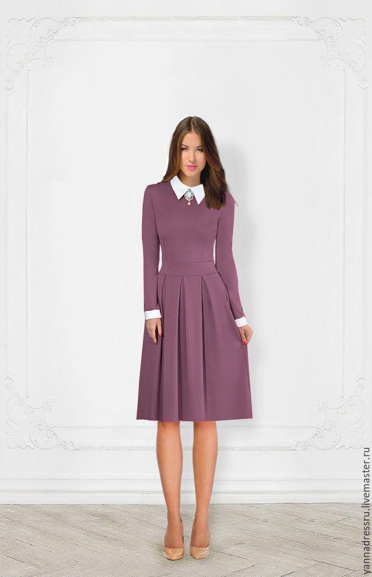 """Купить Платье трикотажное в миди длине """"Autumn Elegance"""" - зеленый, однотонный, платье летнее, платье"""