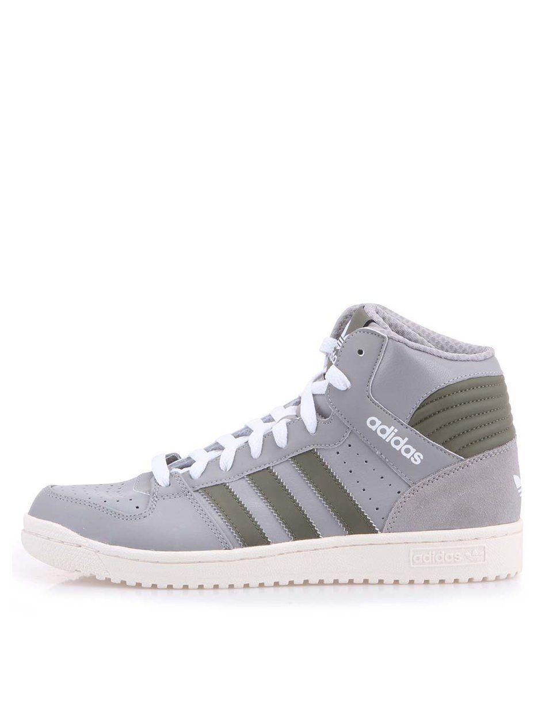c9bfbb186 Šedé pánské kožené kotníkové tenisky Adidas Pro Play   INSPI ...