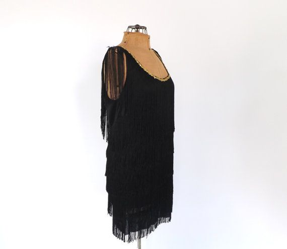 2bbe0d7247b Black Fringe Flapper Dress 1920s Style Fringed Flapper Mini Dress Size  Medium Short Party Dress Gogo