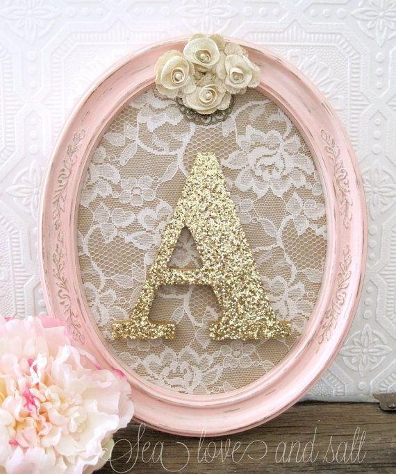 Custom Monogram Frame, Baby Girl Baby Shower Gift, Personalized