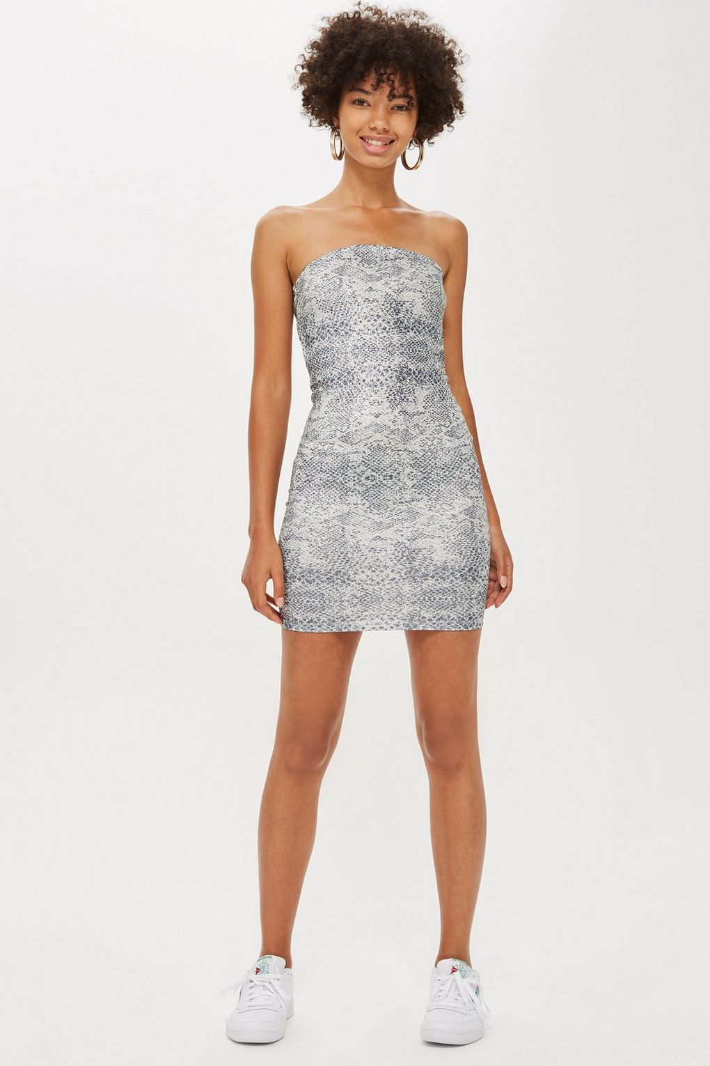 240e714419eb Snake Effect Glitter Mini Dress | Dresses | Dresses, Strapless Dress ...