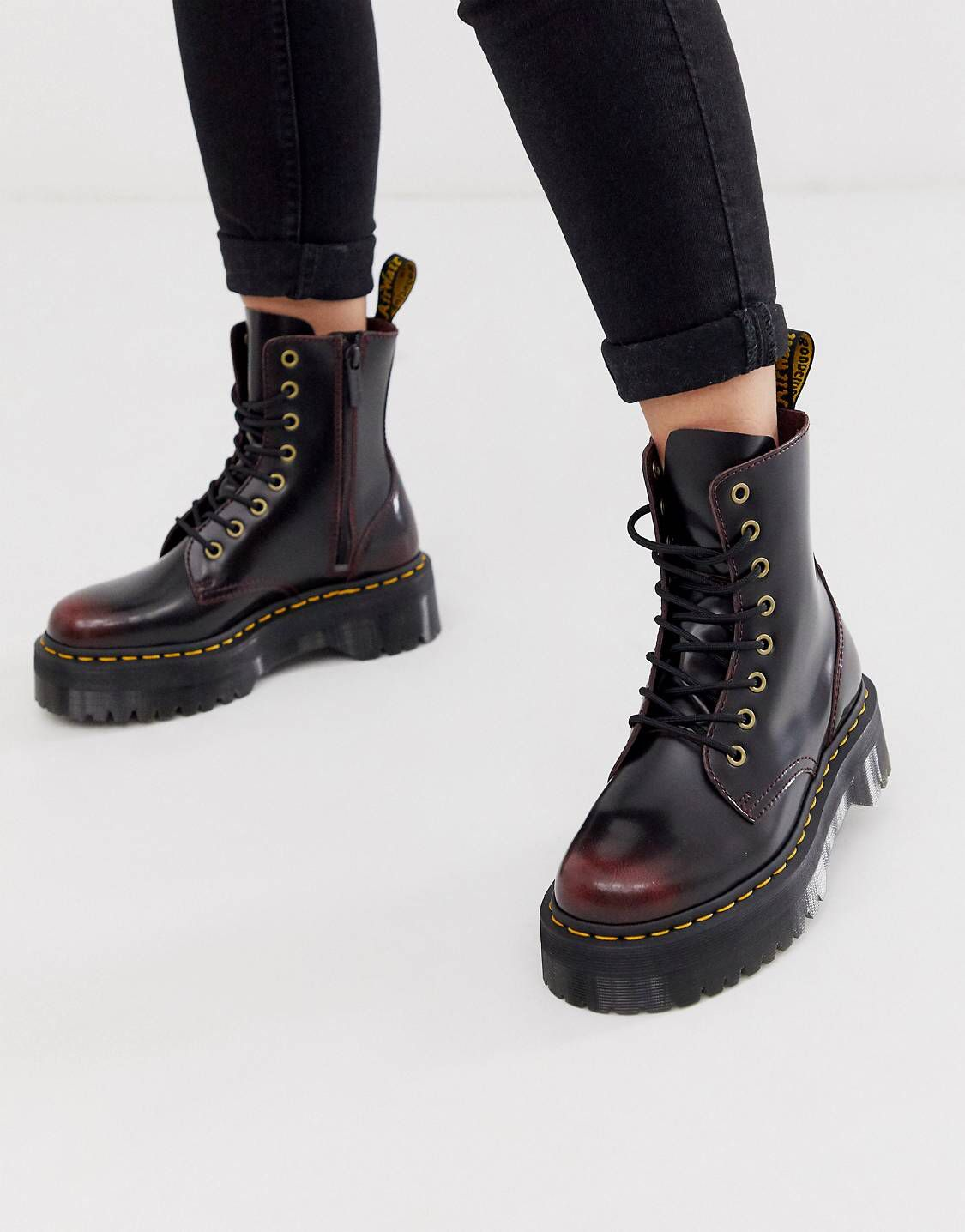 Jadon leather chunky ankle boots with