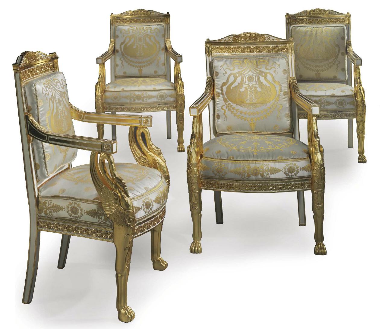 A Set Of Four Empire White Painted And Parcel Gilt Fauteuils Attributed To Henri Jacob Circa 1805 Each With Scrolle Fauteuil Mobilier De Salon Art Decoratif