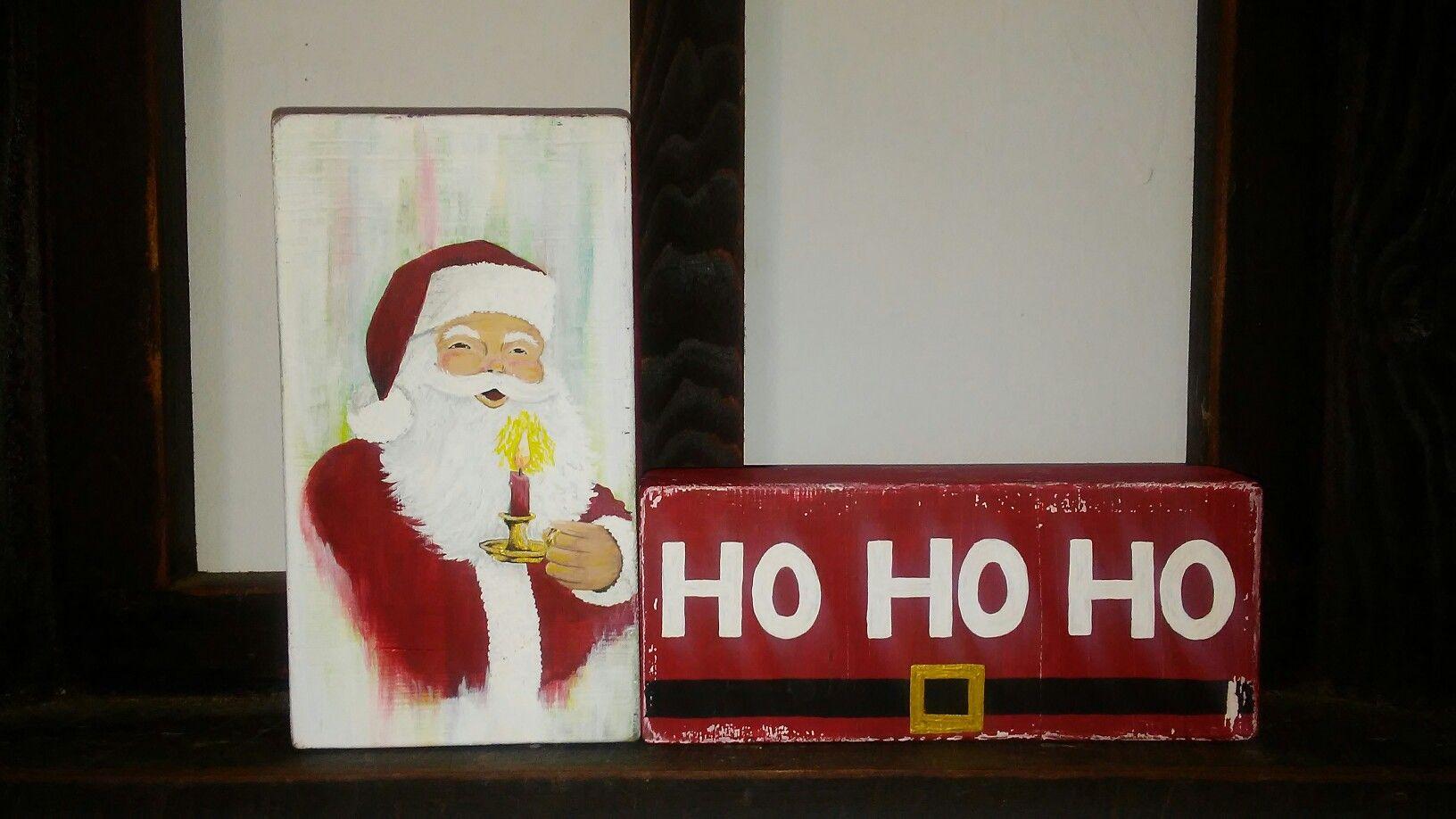 santa ho ho ho 2017 wood block sign set of 2 - Santa Hohoho 2