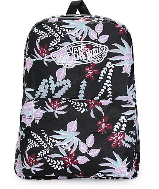 vans realm backpack in black floral print