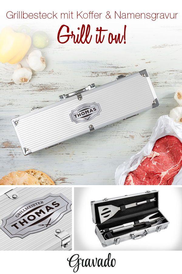 Grillbesteck - Grillset im Grillkoffer mit Gravur - personalisiert ...