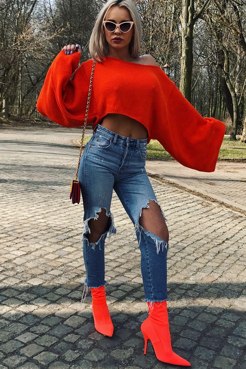 0819aa42b78 Orange Cropped Batwing Jumper - Carmin | O DENIM | Knitted jumper ...