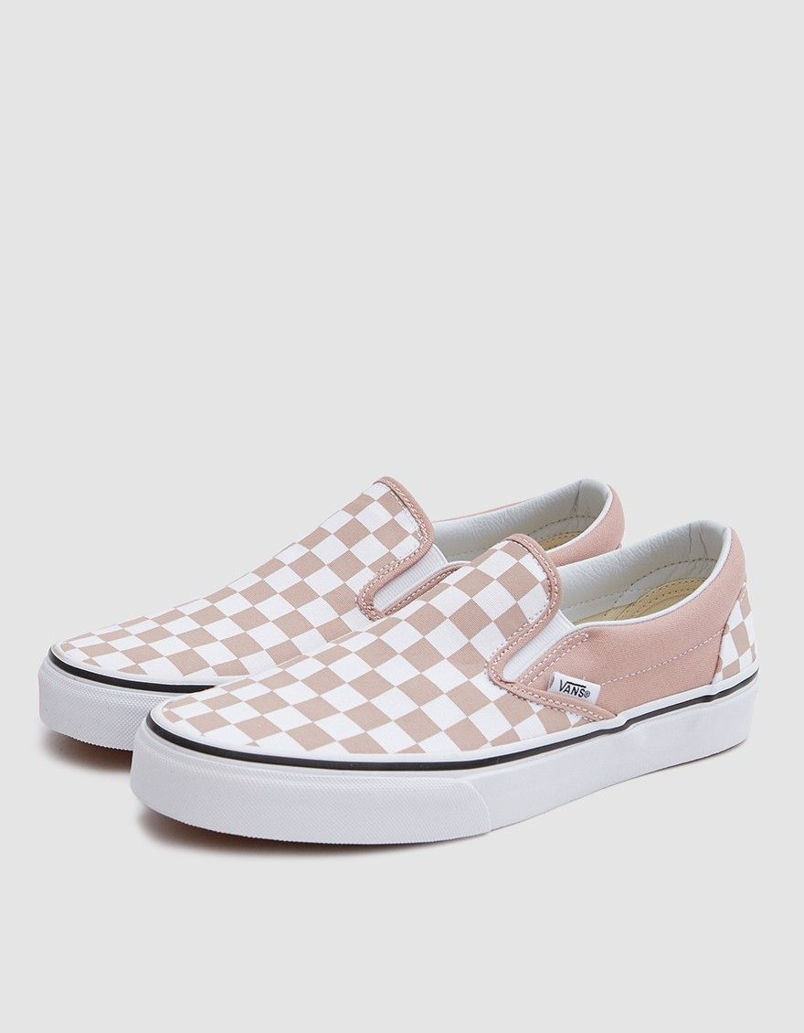 939b1ab72a Classic Slip On from Vans in Mahogany Rose. Canvas upper. Lightly padded  collar. Elastic goring at lateral and medial sides. Woven logo tab at  lateral side.