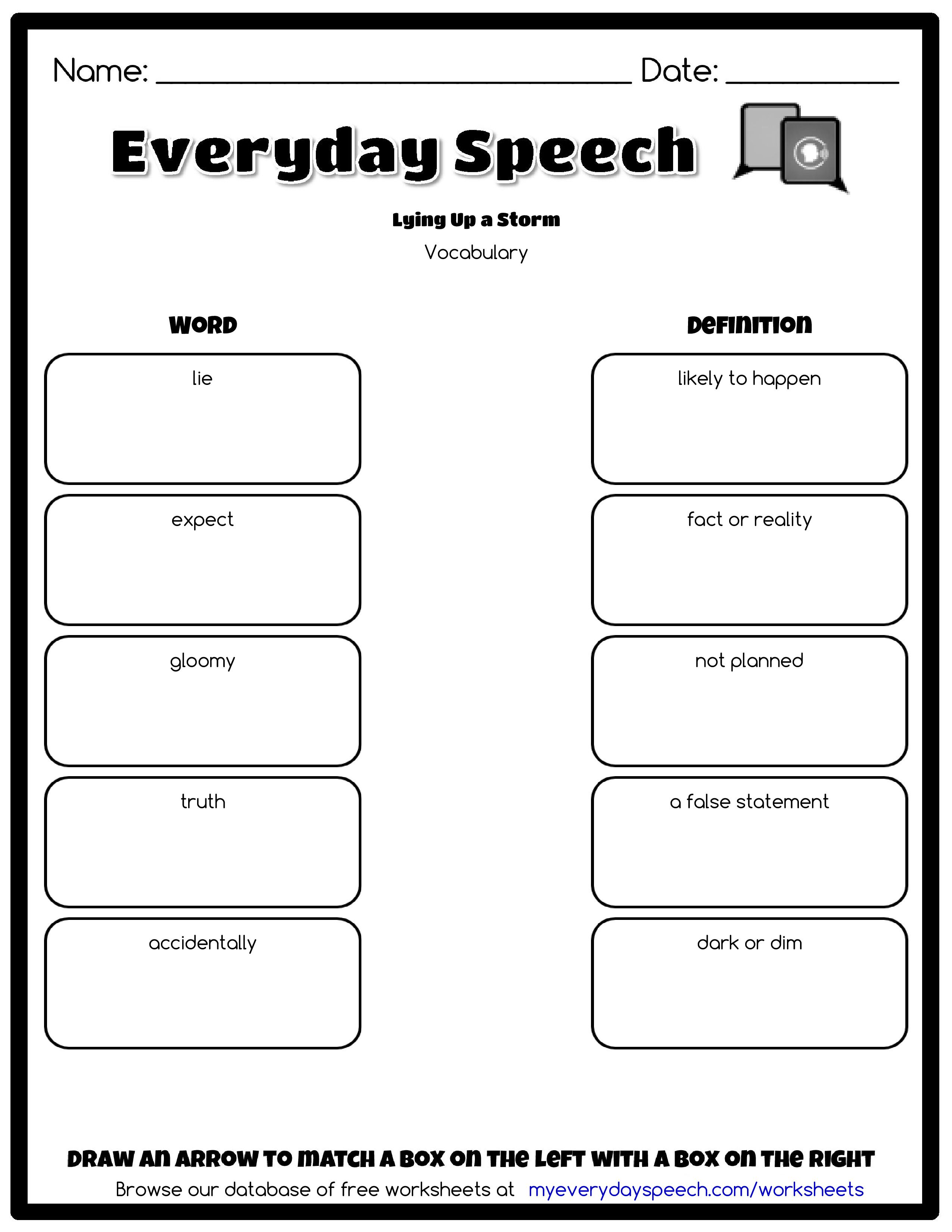 Check Out The Worksheet I Just Made Using Everyday Speechs