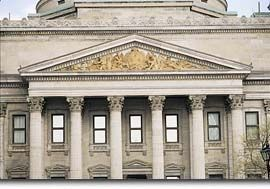 Pediment for the Bank of Montreal (BMO) head office in Montreal. Canada's Old Bank has a lovely museum inside that is often overlooked when visiting Old Montreal.