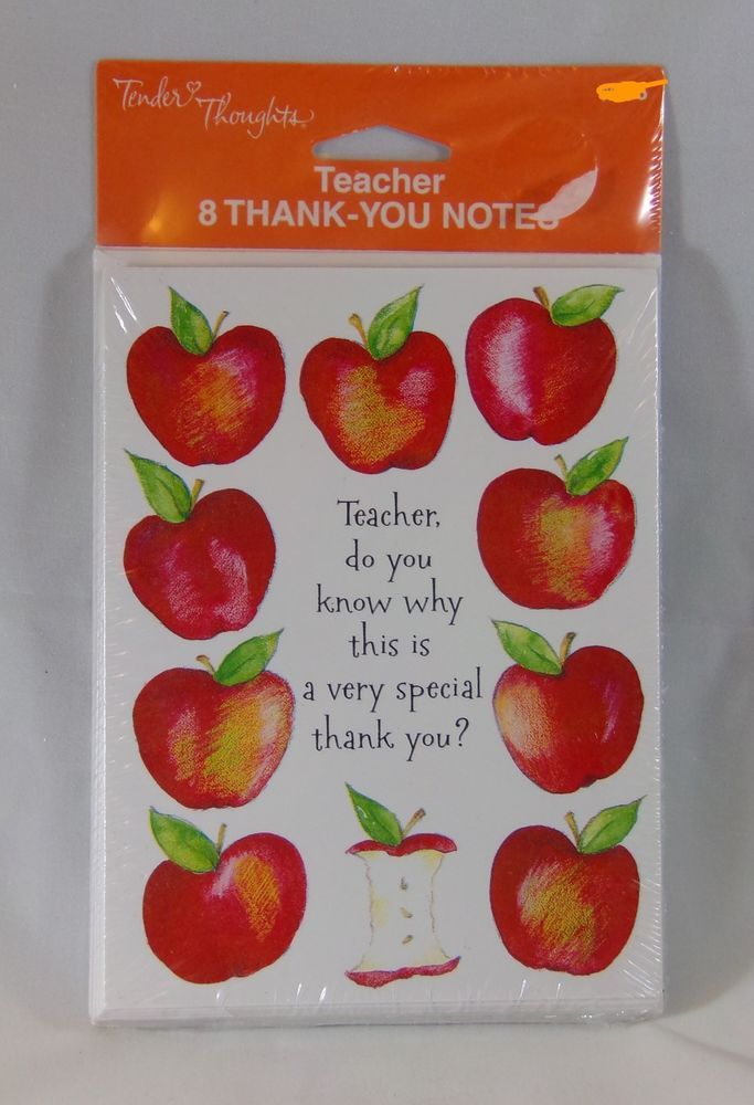 Tender Thoughts Greetings Teacher Thank You Notes New 8 Count Ebay Teacher Thank You Notes Teacher Thank You Thank You Notes